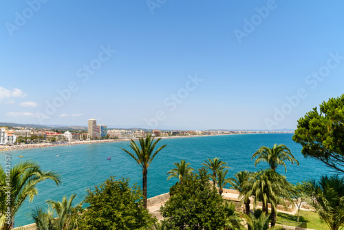 Panoramic View Of Peniscola City Holiday Beach Resort At Mediterranean Sea In Spain