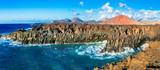 Impressive Los Hervideros lava's caves in Lanzarote island, popu
