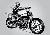 Skull riding motorcycle
