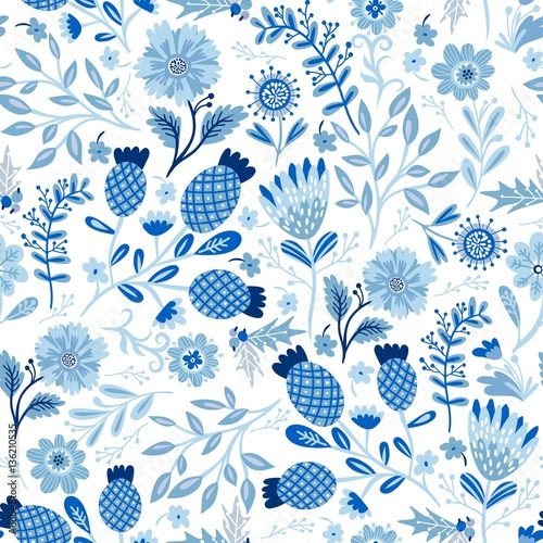 Cotton fabric Vector stylish seamless pattern of blue flowers