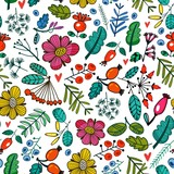 Bright vector seamless pattern of berries and plants