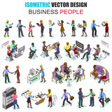 Isometric african descent business people