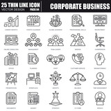 Thin line corporate business icons