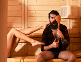 Funny man and female legs