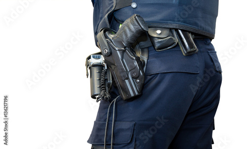 Police man with gun belt isolated