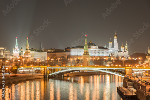 Poster Night view of the Moscow Kremlin.