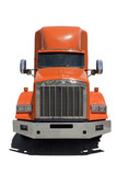 Isolated front view of orange semi cab with white trailer.