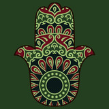 Drawing of a hamsa in blue, green and red colors, with floral ethnic round ornament on a turquoise background