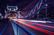 Tower Bridge traffic light trails in London at night
