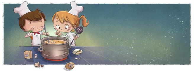Niños coconando con fondo. Amigos en la cocina © childrendrawings