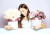 pretty girl with flower boxes