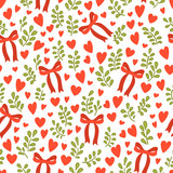 Seamless vector pattern with cute red bows, small hearts and branch - 136235900