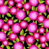 Seamless pattern with bright decorative pink roses - 136235931