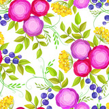 Seamless pattern with bright decorative pink roses - 136235946