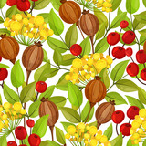 Autumn seamless pattern with green leaves, red berries and poppy boxes - 136235965