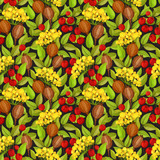 Autumn seamless pattern with green leaves, red berries and poppy boxes - 136235969
