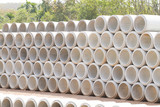 Concrete drainage pipes stacked - 136236509