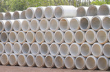 Concrete drainage pipes stacked - 136236580