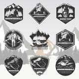 Black Active Leisure Vintage Logos Set