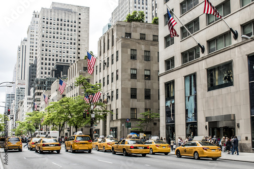 Foto op Canvas New York TAXI New York City Taxi Streets USA Big Apple Skyline american flag