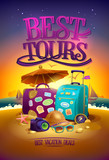 Best tours poster with big suitcases, hat, sunglasses, , compass and camera, against summer sunset beach  backdrop