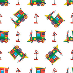 Railway train station seamless pattern vector.