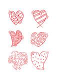 Hearts set doodle.