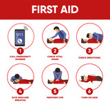 First aid instructions infographics and vector icons of medical  - 136265326