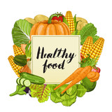 Healthy food banner vector illustration. Fresh natural vegetable, vegetarian nutrition, organic farming, vegan diet, eco product. Organic food concept with carrot, pumpkin, tomato, cucumber, eggplant