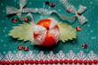 Кра�ива� Овощна� композици� из кра�ного помидора, кольца �очного �вежего лука. Крупный план на фоне зеленом.