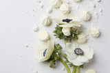 White flowers on white background