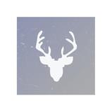 Geometric reindeer illustration. Vector low poly line art. Geome
