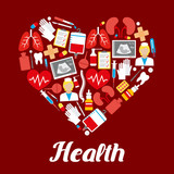 Health heart medical vector poster of medicines