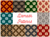 Damask ornament seamless vector patterns set