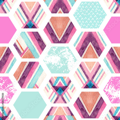 Watercolor hexagon seamless pattern with geometric ornamental elements - 136279550