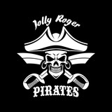 Pirates black vector flag with Jolly Roger symbol