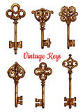 Vintage keys vector isolated icons set