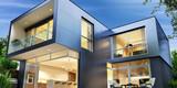 Fototapety Modern house of the solar panels