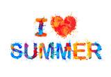 i love summer, splash paint inscription