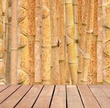 plancher bois et fond bambous