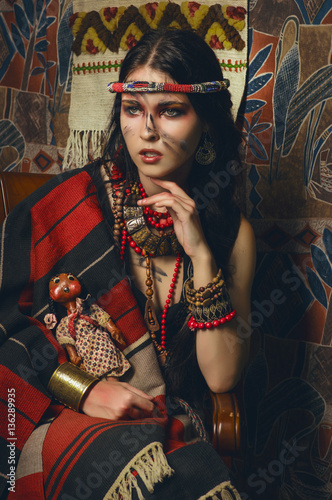 Valokuva Stylized vintage portrait of young woman in ethno style