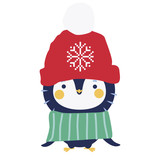 Cute penguin character in winter clothes - 136290108
