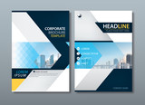 Blue yellow flyer design, Leaflet cover template. - 136291936