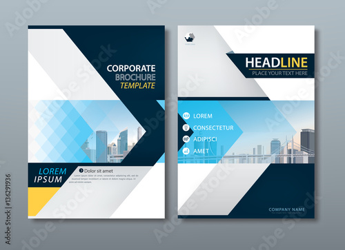 Blue yellow flyer design, Leaflet cover template.