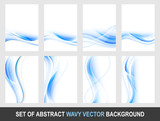 Set of abstract blue wavy vector background. - 136293547