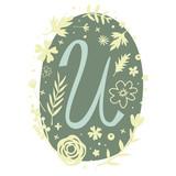 Floral Monogram Letter U - 136293565