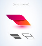 Fototapety Abstract aircraft wing logo icon set. Origami paper and material design style.