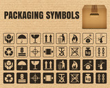 Packaging symbols on a cardboard background including Fragile, Handle with care, Keep dry, This side up, Flammable, Recycled, Package weight, Do not litter, Max stack, Clamp and Sling here, and others - 136295565