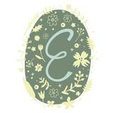 Floral Monogram Letter E - 136297962