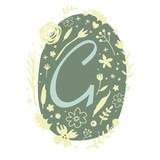 Floral Monogram Letter G - 136298132